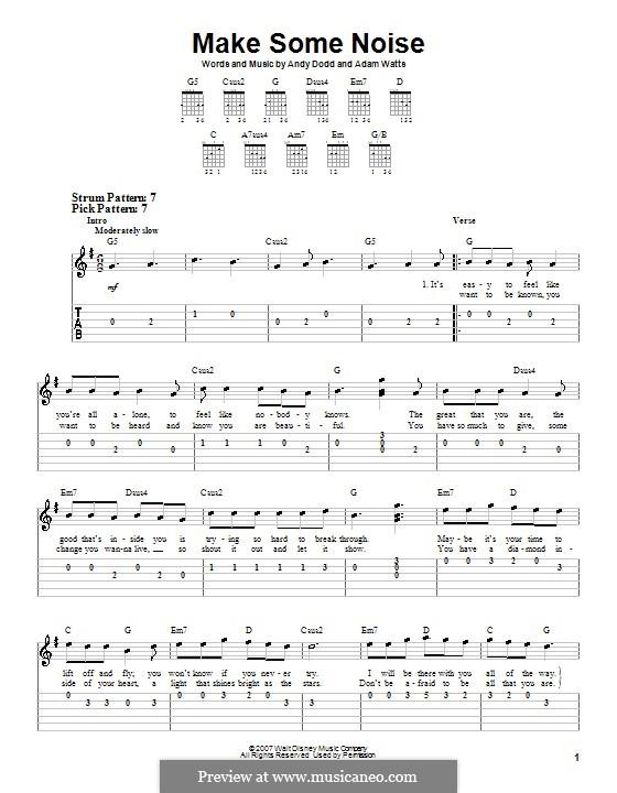 Make Some Noise (Hannah Montana): Für Gitarre (Sehr leichte Fassung) by Adam Watts, Andrew Dodd