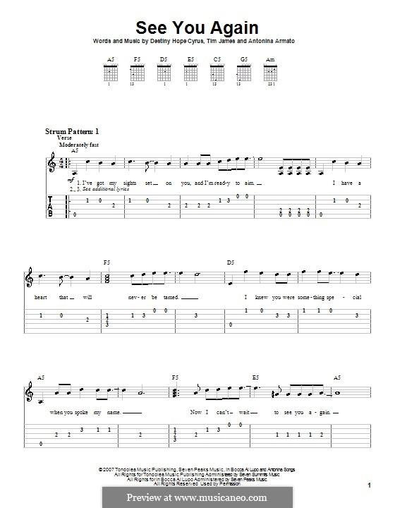 See You Again (Hannah Montana): Für Gitarre (Sehr leichte Fassung) by Antonina Armato, Destiny Hope Cyrus, Timothy James