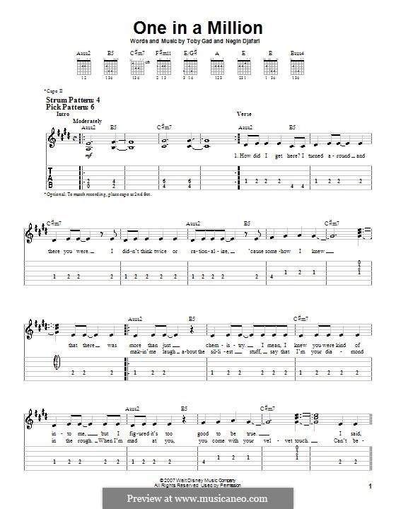 One in a Million (Hannah Montana): Für Gitarre (Sehr leichte Fassung) by Negin Djafari, Tobias Gad