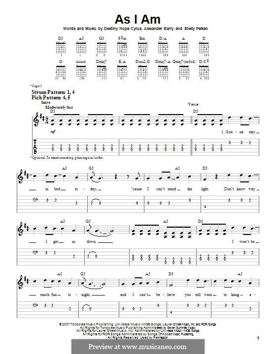 As I am (Hannah Montana): Für Gitarre (Sehr leichte Fassung) by Alexander Barry, Destiny Hope Cyrus, Shelly Peiken