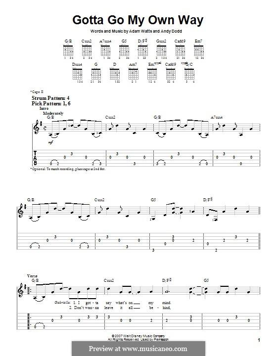 Gotta Go My Own Way (High School Musical 2): Für Gitarre (Sehr leichte Fassung) by Adam Watts, Andrew Dodd