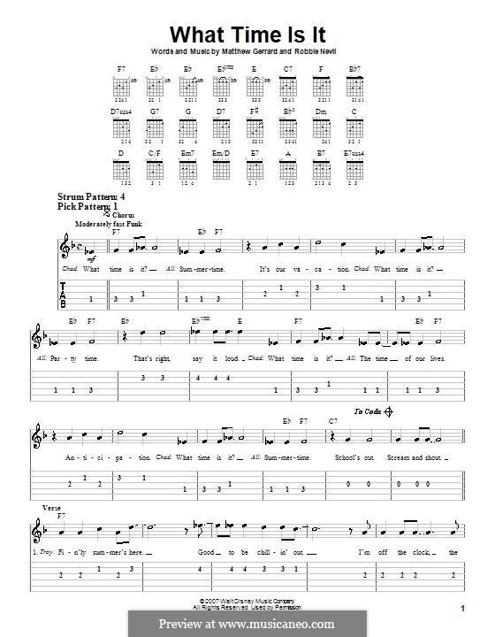 What Time Is It (from High School Musical 2): Für Gitarre (Sehr leichte Fassung) by Matthew Gerrard, Robbie Nevil