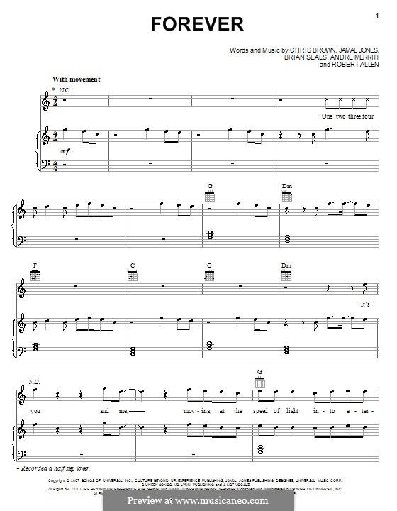 Forever (Chris Brown): Für Stimme und Klavier (oder Gitarre) by Andre Merritt, Brian Kennedy Seals, Jamal Jones, Robert Allen