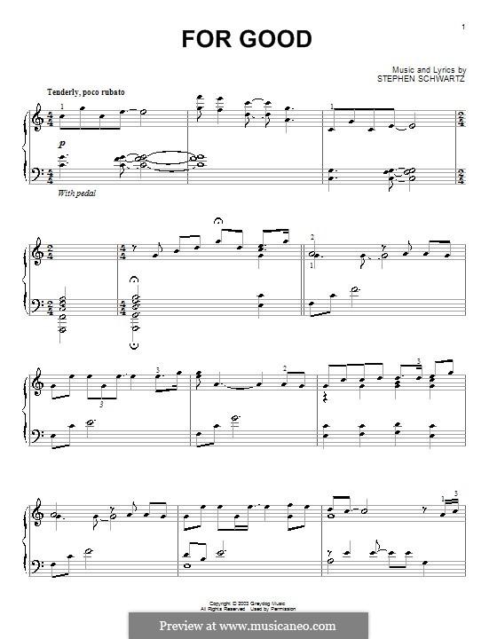 For Good: Für Klavier by Stephen Schwartz
