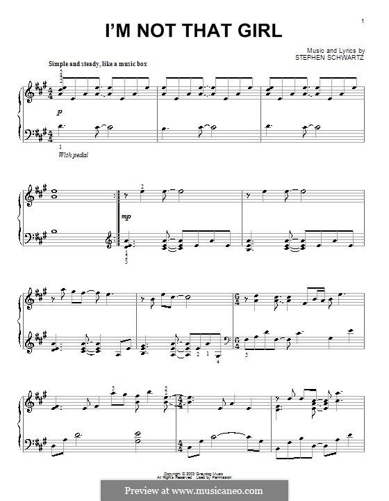 I'm Not That Girl (from Wicked): Für Klavier by Stephen Schwartz