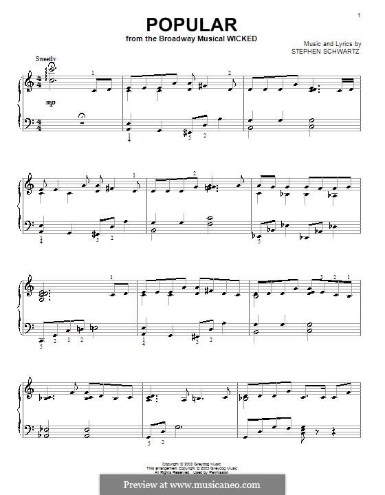 Popular: Für Klavier by Stephen Schwartz