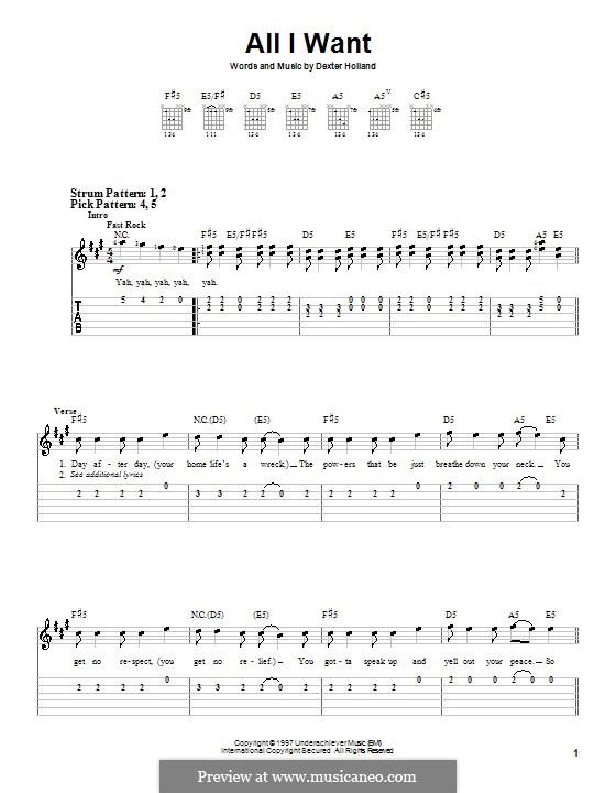 All I Want (The Offspring): Für Gitarre (Sehr leichte Fassung) by Dexter Holland