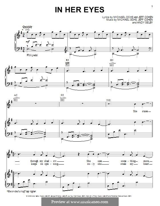 In Her Eyes (Josh Groban): Für Stimme und Klavier (oder Gitarre) by Andy Selby, Jeff Cohen, Michael Ochs