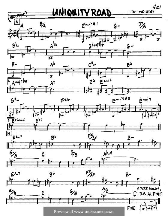 Uniquity Road: Melodie und Akkorde - Instrumente in C by Pat Metheny