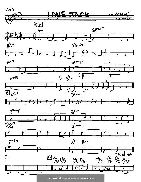 Lone Jack: Melodie und Akkorde - Instrumente in C by Pat Metheny