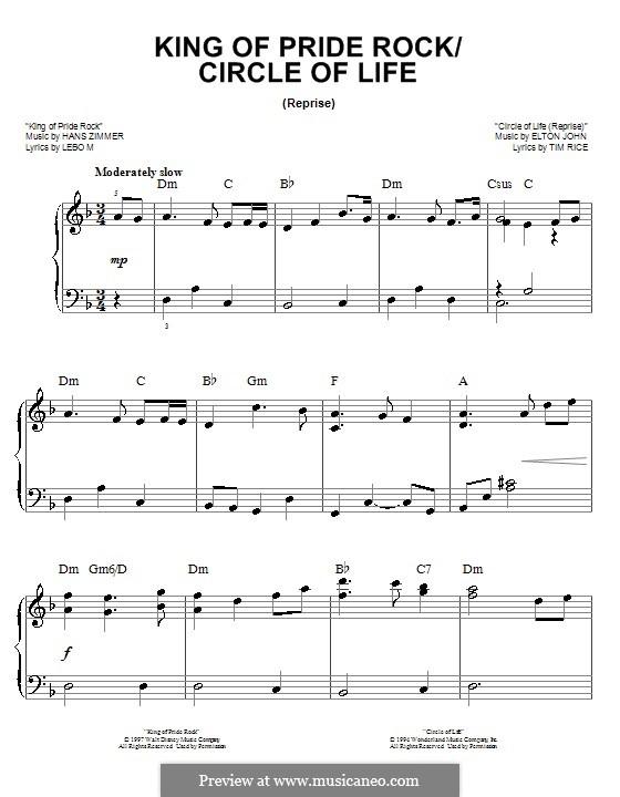 King of Pride Rock: Für Klavier, leicht by Elton John, Hans Zimmer