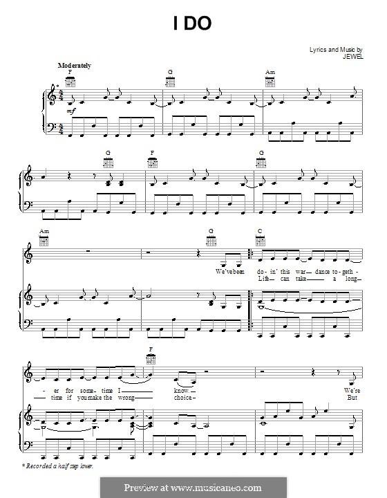I Do (Jewel): Für Stimme und Klavier (oder Gitarre) by Jewel Kilcher