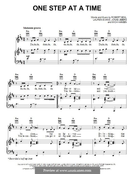 One Step at a Time (Jordin Sparks): Für Stimme und Klavier (oder Gitarre) by Jonas Jeberg, Lauren Evans, Mich Hansen, Robbie Nevil