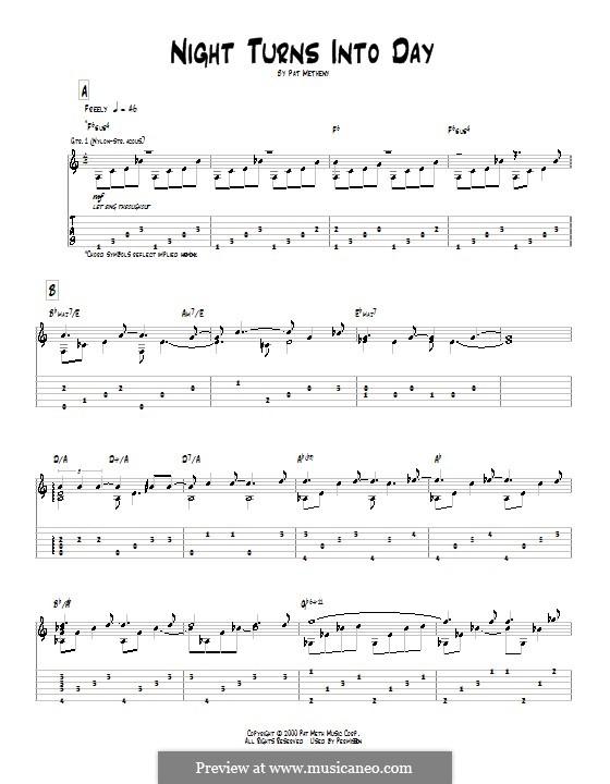 Night Turns Into Day: Für Gitarre mit Tab by Pat Metheny
