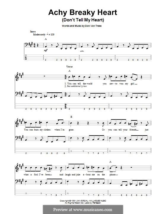 Achy Breaky Heart (Don't Tell My Heart): Für Bassgitarre mit Tabulatur by Donald Von Tress