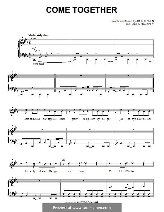 Come Together (The Beatles): Für Stimme mit Klavier oder Gitarre (C Minor) by John Lennon, Paul McCartney