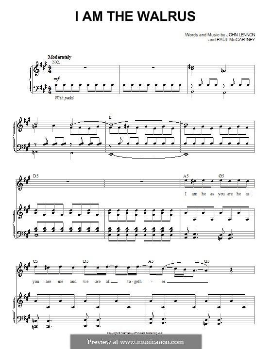 I am the Walrus (The Beatles): Für Stimme und Klavier (oder Gitarre) by John Lennon, Paul McCartney