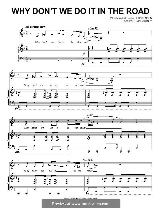 Why Don't We Do It in the Road (The Beatles): Für Stimme und Klavier (oder Gitarre) by John Lennon, Paul McCartney