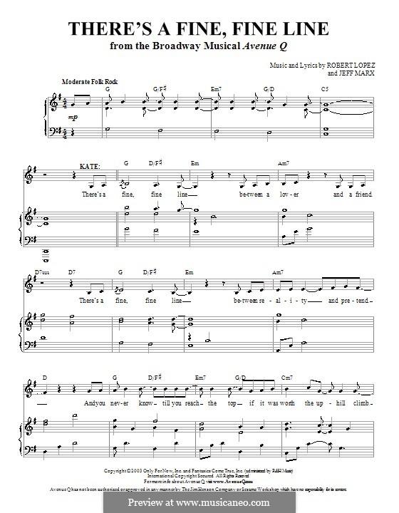 There's a Fine, Fine Line (Avenue Q): Für Stimme und Klavier (oder Gitarre) by Jeff Marx, Robert Lopez