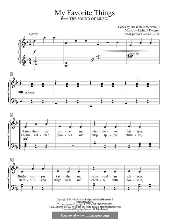 My Favorite Things (from The Sound of Music), for Piano: Für einen Interpreten (Noten von hohem Qualität) by Richard Rodgers