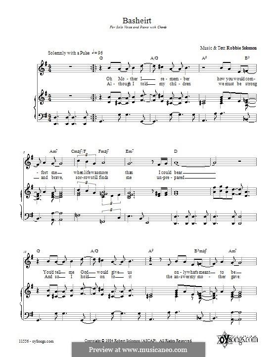 Basheirt: Für Stimme und Klavier (oder Gitarre) by Robbie Solomon