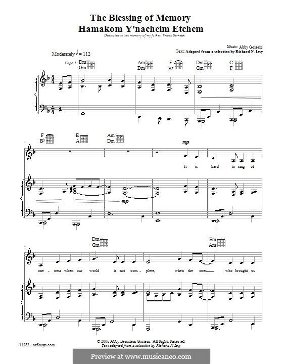 Blessing of Memory: Für Stimme und Klavier (oder Gitarre) by Abby Gostein