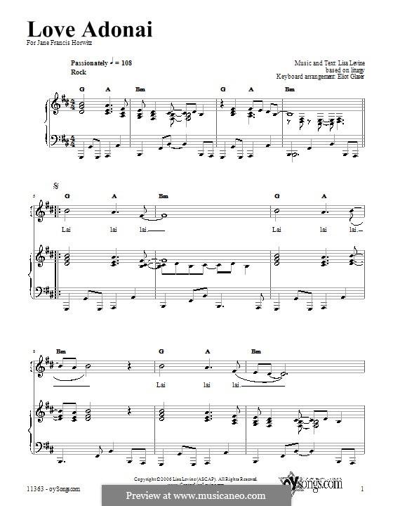 Love Adonai: Für Stimme und Klavier (oder Gitarre) by Lisa Levine