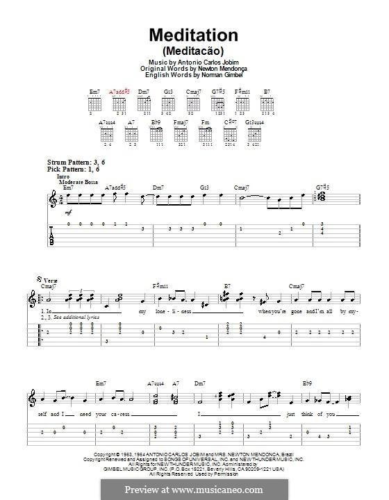 Meditation: Für Gitarre (Sehr leichte Fassung) by Antonio Carlos Jobim
