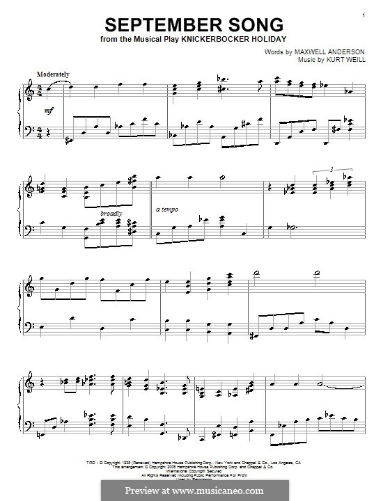 September Song: Für Klavier by Kurt Weill