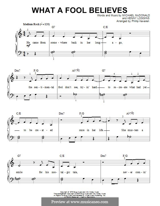 What a Fool Believes (The Doobie Brothers): Für Klavier by Kenny Loggins, Michael McDonald