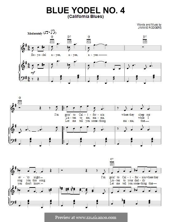 Blue Yodel No.4 (California Blues): Für Stimme und Klavier (oder Gitarre) by Jimmie Rodgers