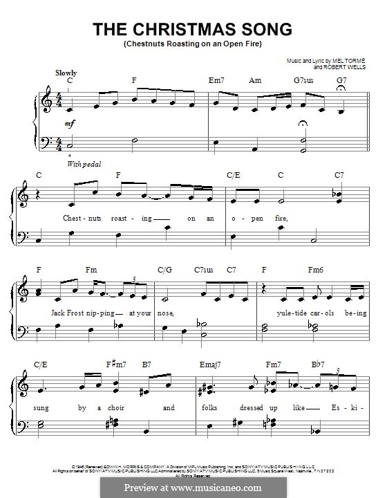 The Christmas Song (Chestnuts Roasting on an Open Fire), for Piano: Version für leichtes Klavier by Mel Tormé, Robert Wells