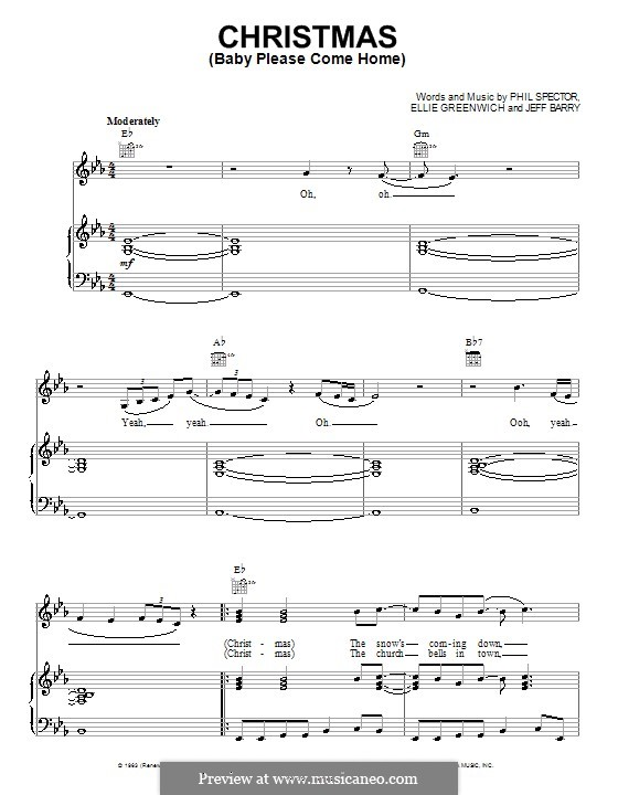 Christmas (Baby Please Come Home): Für Stimme und Klavier (oder Gitarre) by Ellie Greenwich, Jeff Barry, Phil Spector