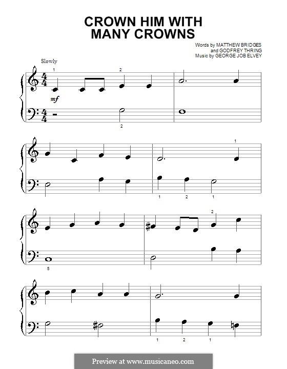 Crown Him with Many Crowns: Für Klavier (sehr leichte Fassung) by George Job Elvey