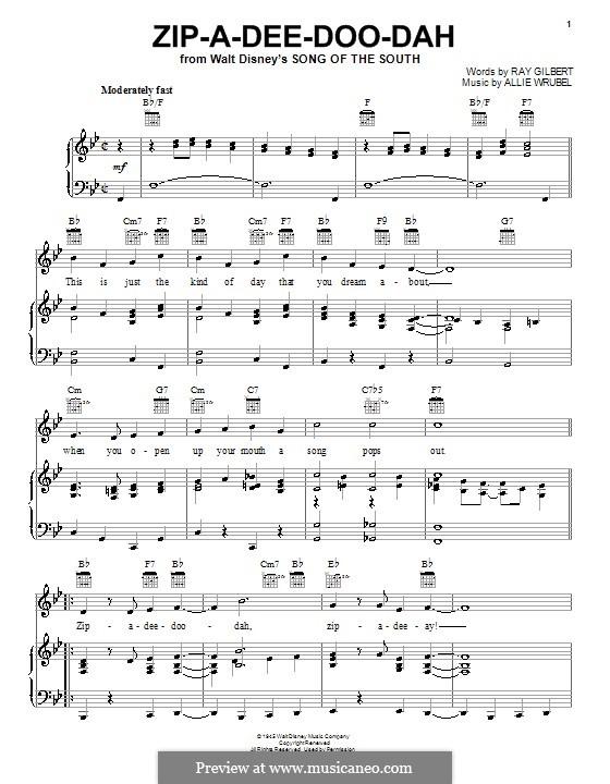 Zip-A-Dee-Doo-Dah: Für Stimme und Klavier (oder Gitarre) by Allie Wrubel