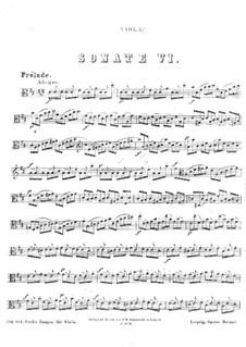 Suite für Cello Nr.6 in D-Dur, BWV 1012: Bearbeitung für Bratsche by Johann Sebastian Bach