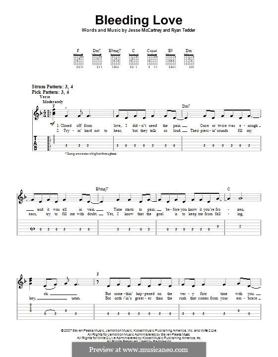 Bleeding Love (Leona Lewis): Für Gitarre (Sehr leichte Fassung) by Jesse McCartney, Ryan B Tedder