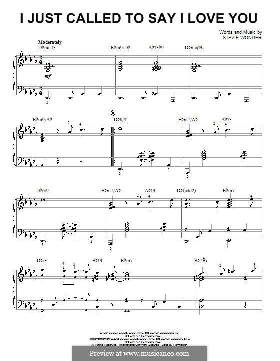 I Just Called to Say I Love You: Für Klavier (jazz version) by Stevie Wonder