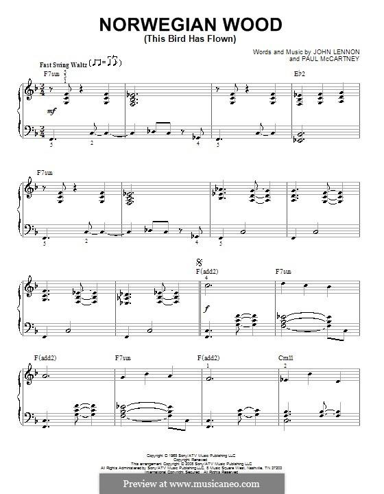 Norwegian Wood (This Bird Has Flown): Für Klavier (jazz version) by John Lennon, Paul McCartney