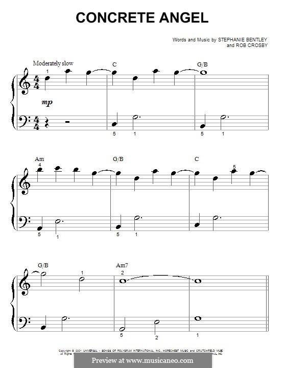 Concrete Angel (Martina McBride): Für Klavier (sehr leichte Fassung) by Rob Crosby, Stephanie Bentley