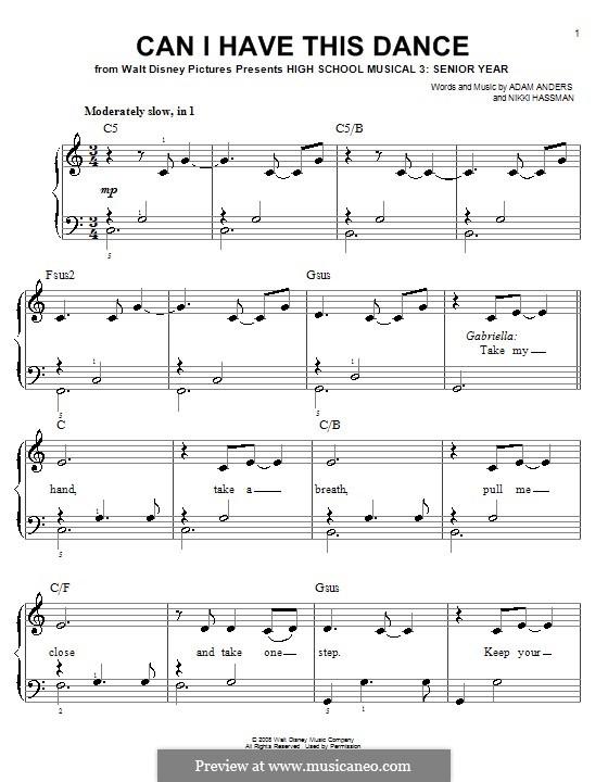 Can I Have This Dance (High School Musical 3): Einfache Noten für Klavier by Adam Anders, Nikki Hassman