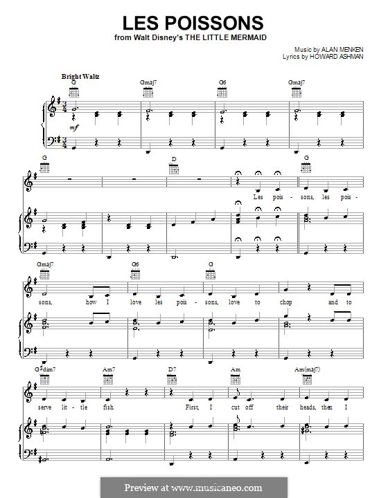 Les Poissons (from The Little Mermaid): Für Stimme und Klavier oder Gitarre (G-Dur) by Alan Menken