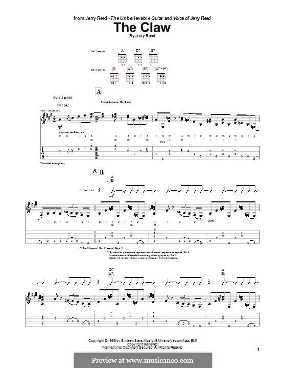 The Claw: Für Gitarre mit Tabulatur by Jerry Reed