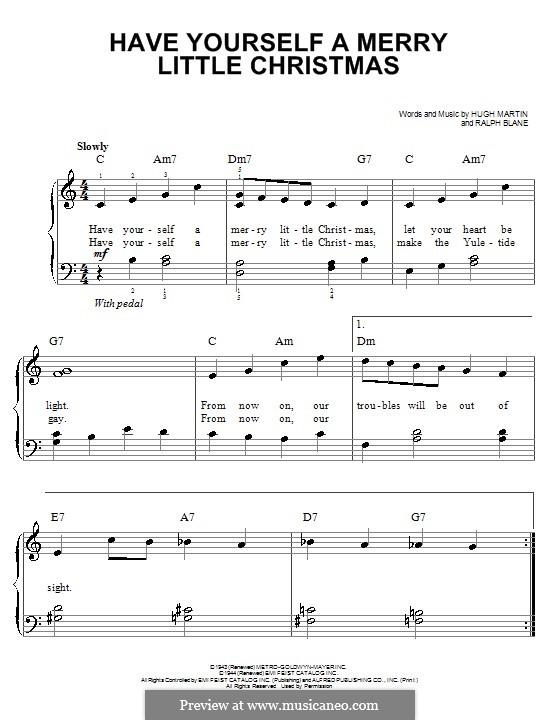 Have Yourself a Merry Little Christmas: Für Klavier, leicht by Hugh Martin, Ralph Blane