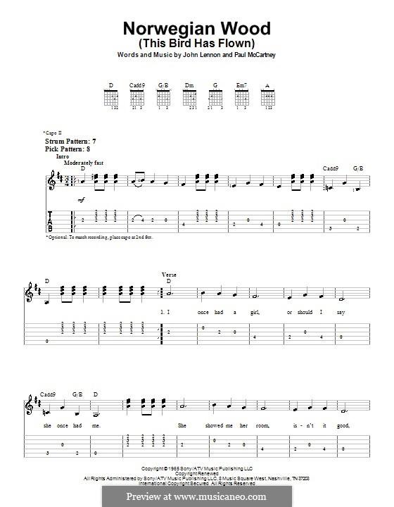 Norwegian Wood (This Bird Has Flown): For easy guitar tab by John Lennon, Paul McCartney