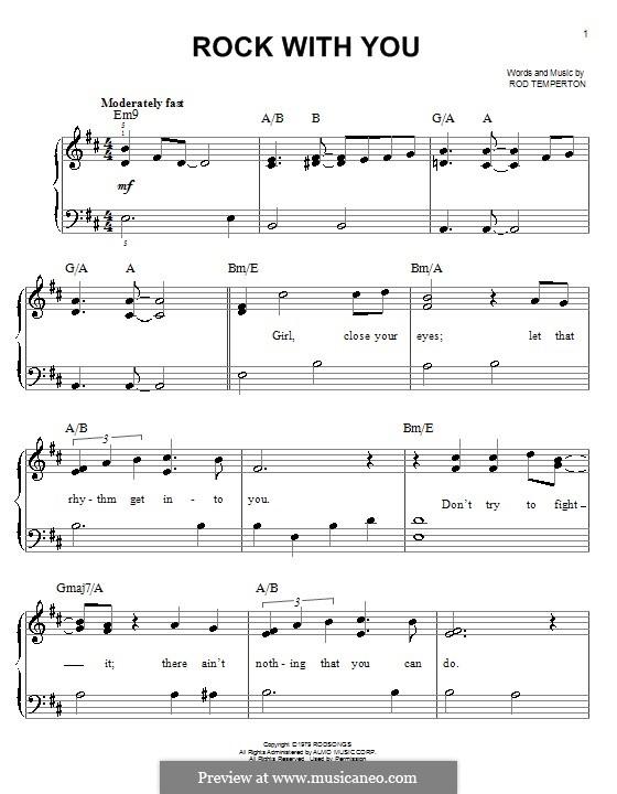 Rock with You (Michael Jackson): Einfache Noten für Klavier by Rod Temperton
