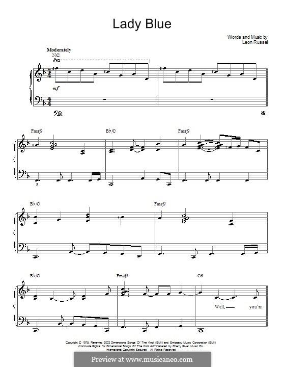 Lady Blue: Einfache Noten für Klavier by Leon Russell