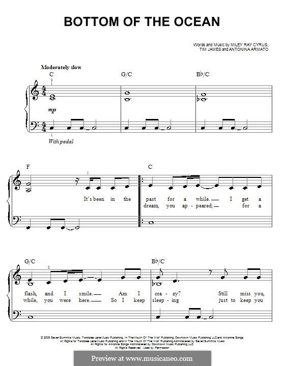 Bottom of the Ocean: Für Klavier, leicht by Antonina Armato, Miley Ray Cyrus, Timothy James