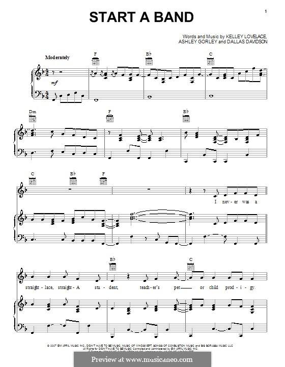 Start a Band (Brad Paisley featuring Keith Urban): Für Stimme und Klavier (oder Gitarre) by Ashley Gorley, Dallas Davidson, Kelley Lovelace