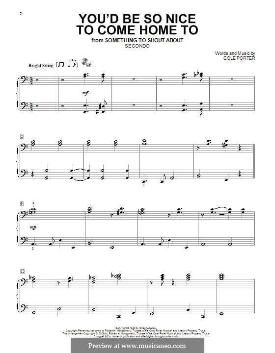 You'd Be So Nice to Come Home to: Für Klavier, vierhändig by Cole Porter